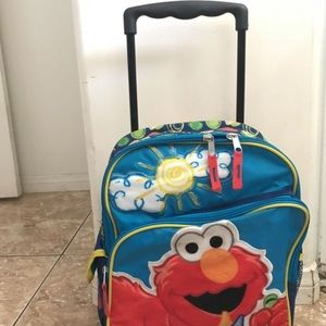 Elmo toddler rolling backpack